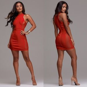 Bodycon Dress with Mesh Sides